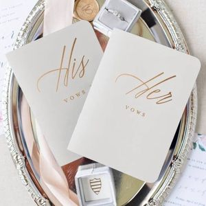 Wedding vow books gold accent set